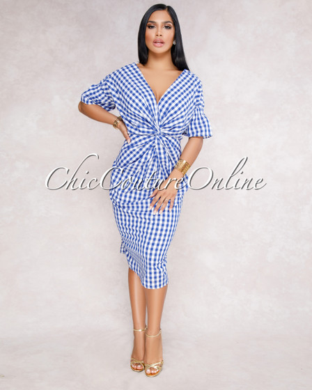 Tabata White Blue Knotted Front Gingham Dress