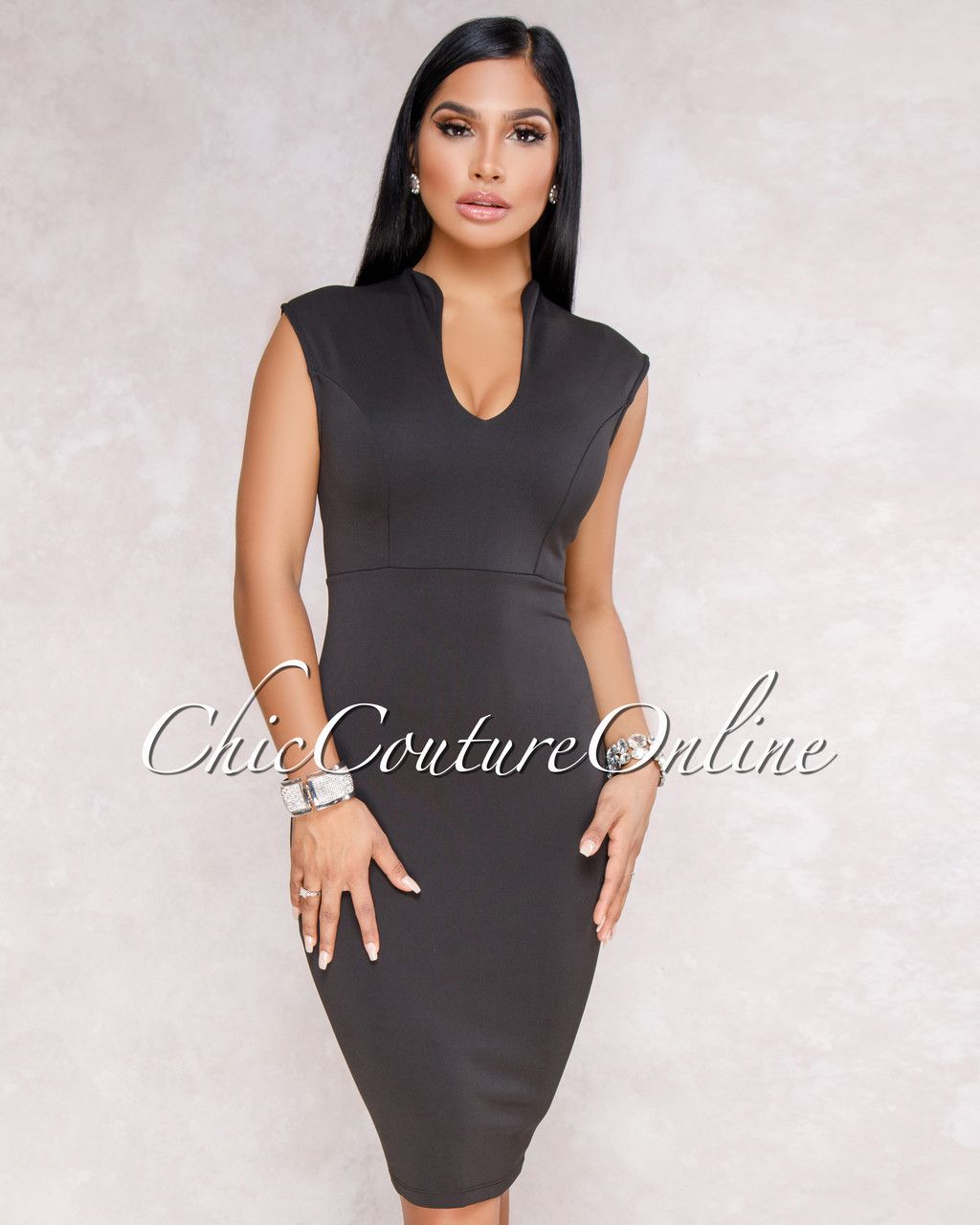 ddd7b95ae679 Anny Black Fitted V-Neck Midi Dress. Price   45.00. Image 1