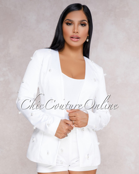 Carley White Pearl Embellished Two Piece Set