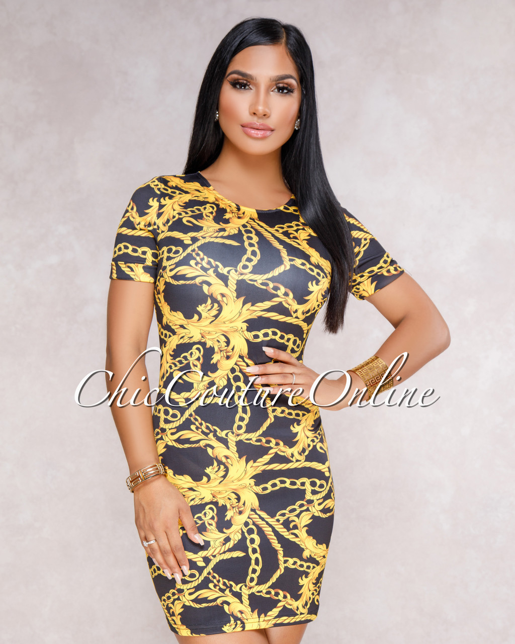 Christine Black Gold Chain Print Mini Dress