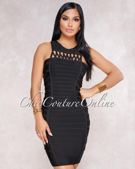 Pierson Black Lace-Up Design Luxe Bandage Dress