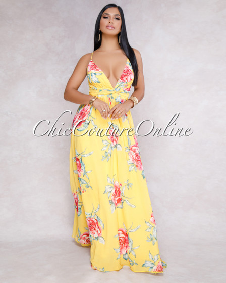 St-Tropez Yellow Multi-Color Floral Maxi Dress