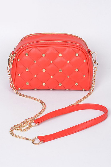 Mirra Golden Studs Embellished Red Crossbody Bag