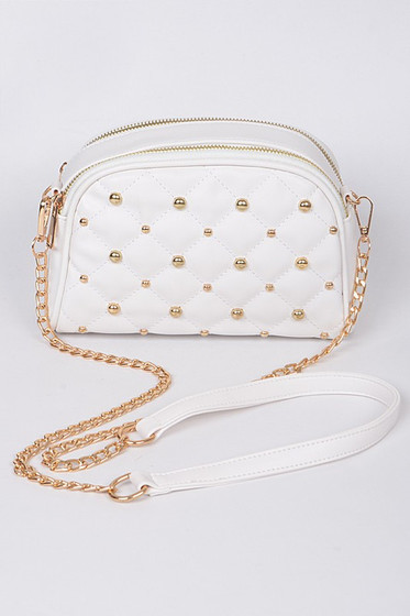 Mirra Golden Studs Embellished White Crossbody Bag