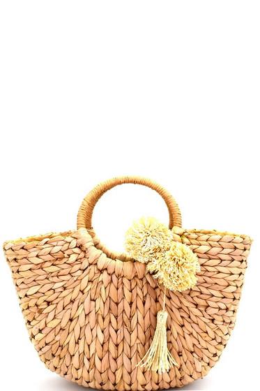Pom Pom Woven Straw Basket Bag