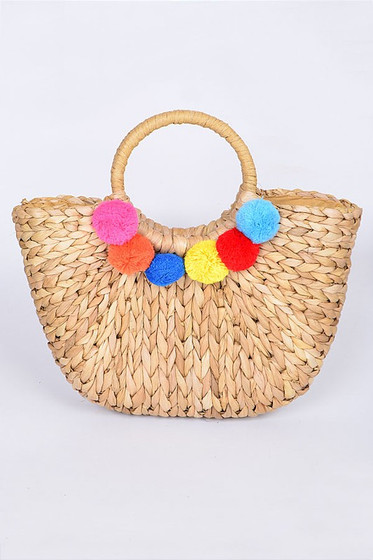 Multi Color Pom Pom Woven Straw Basket Bag