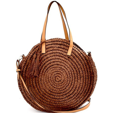Claire Brown Circle Woven Straw Bag