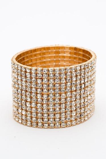 Mexxie Pave All Around Stretchy Cuff Bracelet