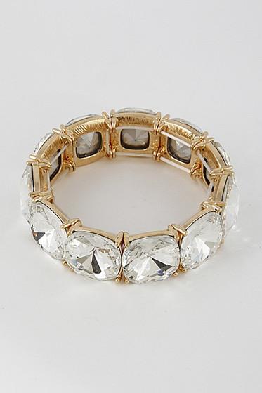 Yman Golden Big Rhinestones Chunky Bangle Bracelet