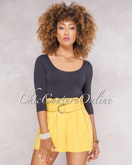 Kalani Mustard Yellow Paper Bag Waist Shorts