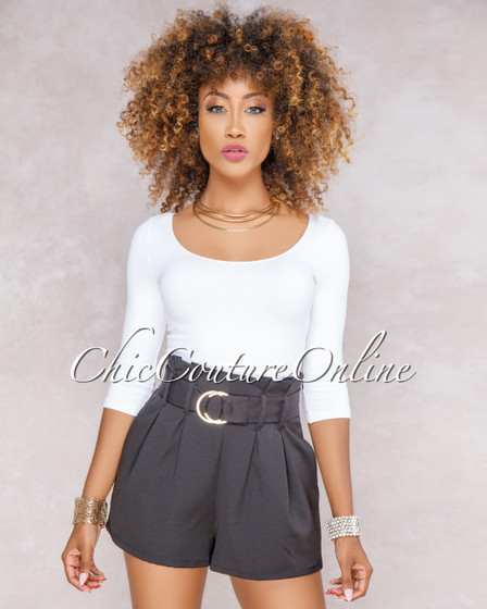 Kalani Black Paper Bag Waist Shorts