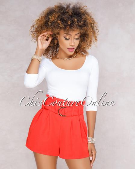 Kalani Red Paper Bag Waist Shorts