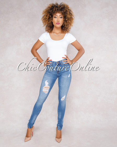 Bekka Blue High Waist Distresses Denim Jeans