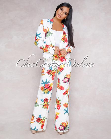 Indira Off White Botanical Print Two Piece Suit Set