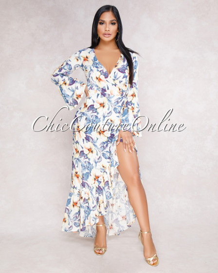 Asher Ivory Blue Floral Ruffle Wrap Maxi Dress