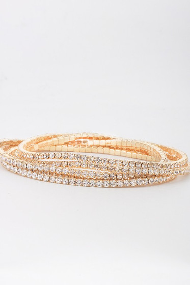 James Gold Embellished Pave Rhinestones Stretchy Bracelet Set