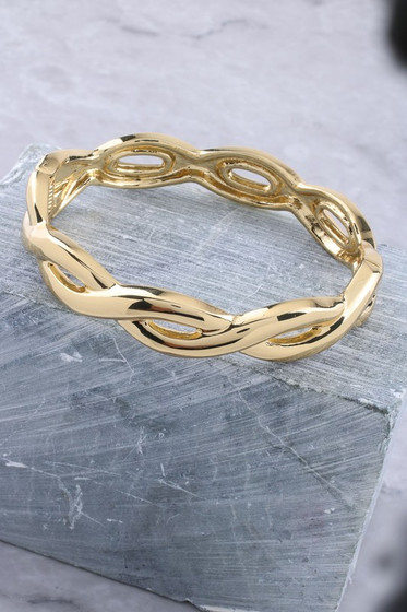 Jonas Gold Braided Hinged Bracelet