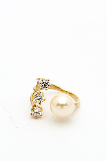 Mark Gold Dainty Pearl Cubic Zirconia Rhinestones Open Ring