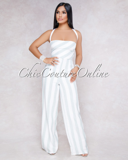 Corra White Grey Stripes Strappy Back Jumpsuit