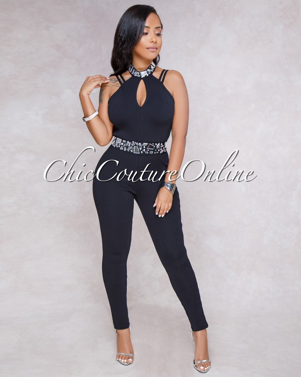 f6142246a1f4 Megan Black Bandage Embellished Jumpsuit. Price   75.00. Image 1