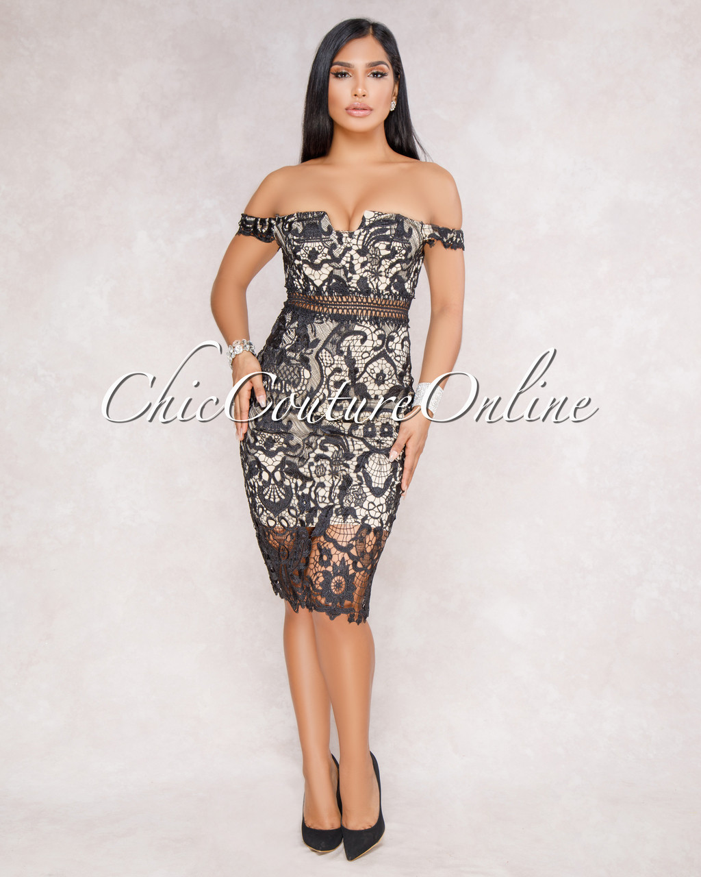 82402fcd5b5 Fiyona Black Off The Shoulder Crochet Mini Dress