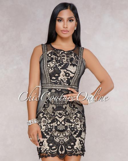 Eden Black Nude Crochet Luxe Mini Dress