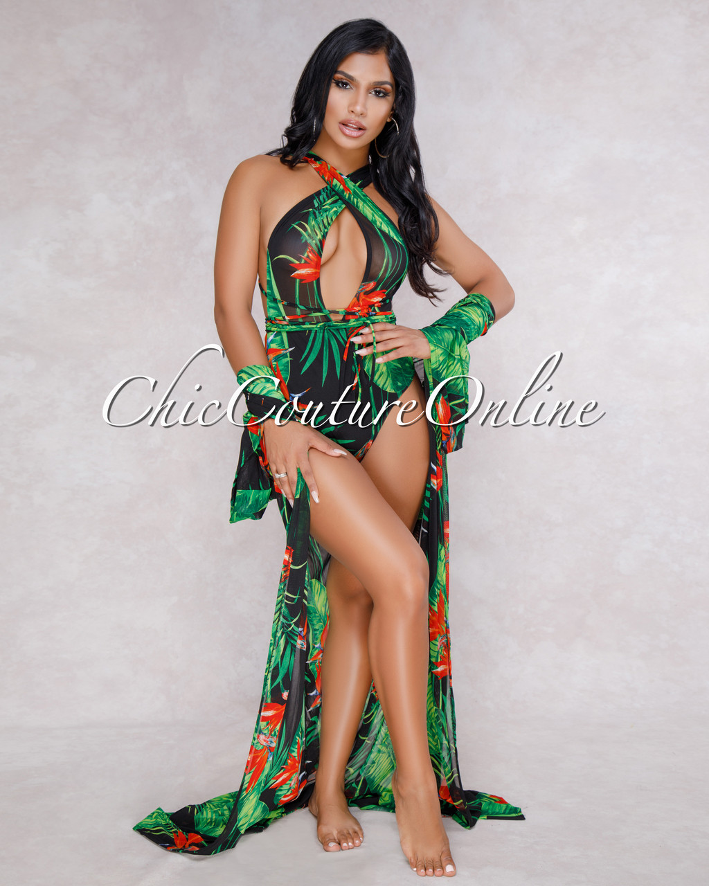 bf3a3a6d584ac Aruba Green Leaf Red Floral Print Mesh Swimsuit Cover-up Set. Your Price    65.00 (You save  20.00). Image 1. Larger   More Photos