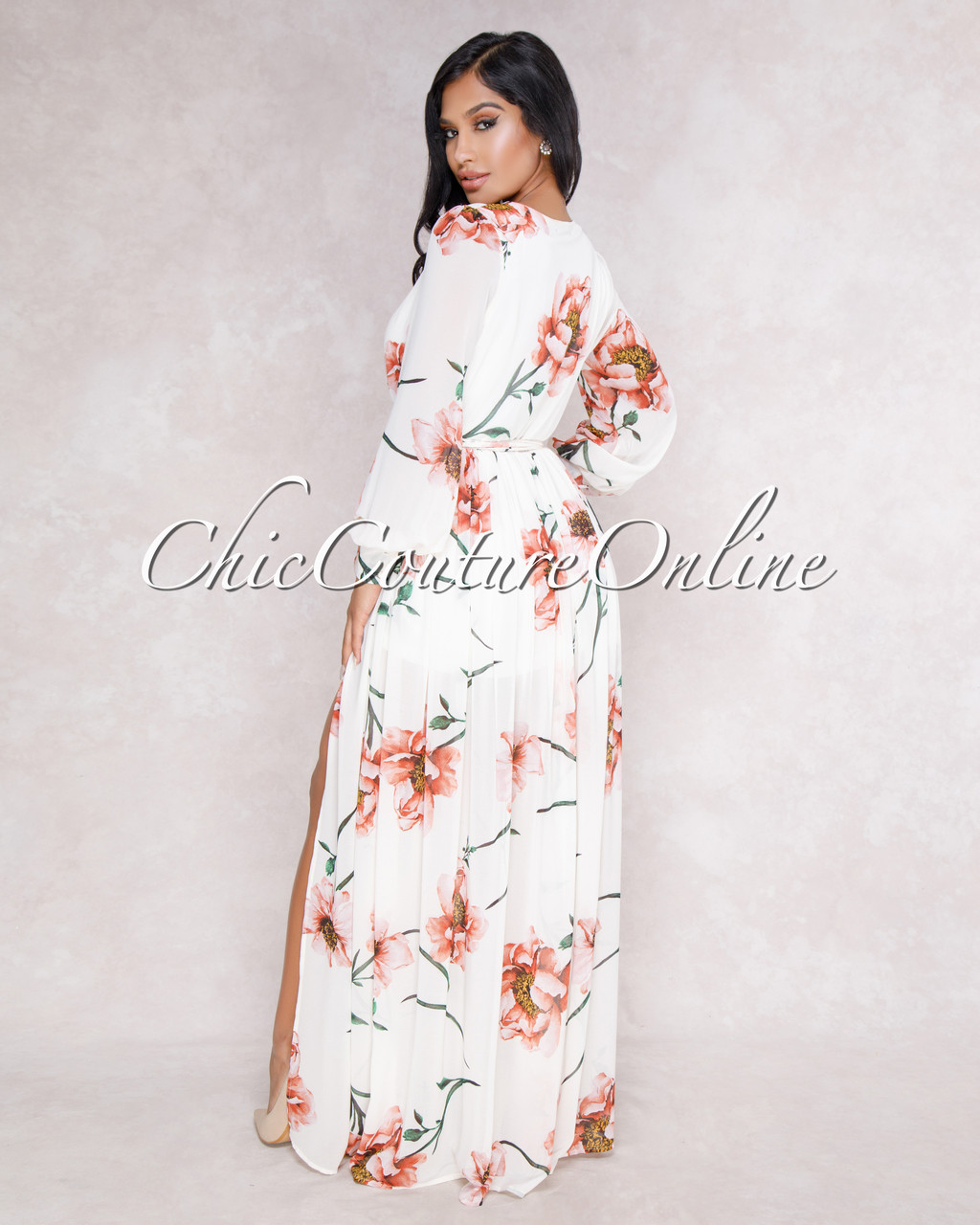 Karson off white floral print belted maxi dress larger more photos mightylinksfo
