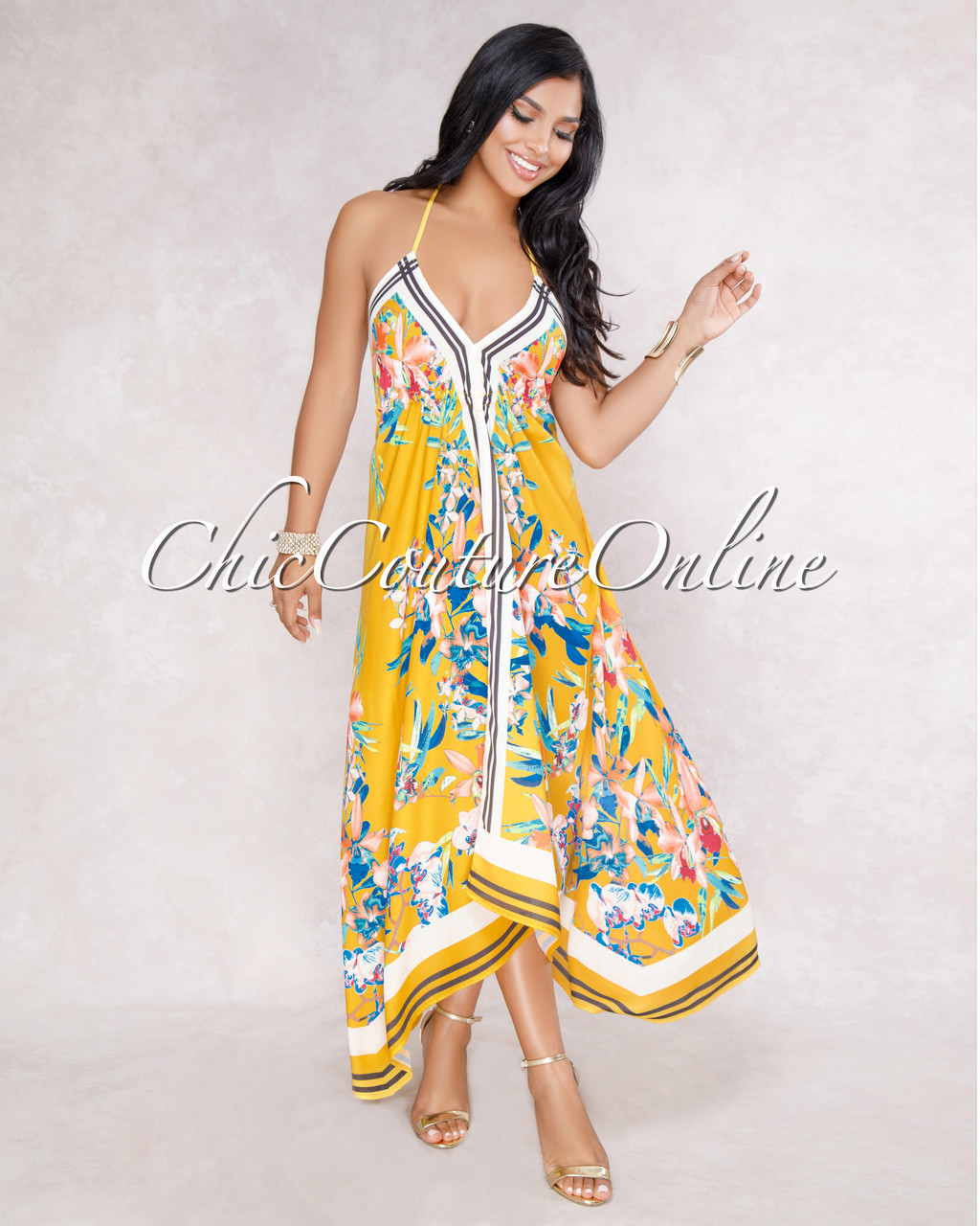 5b28e2ebea1 Harley Yellow Floral Print Asymmetrical Maxi Dress