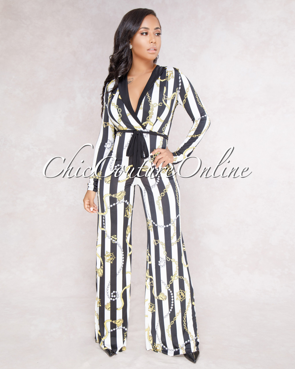 Malu Black White Gold Chain Print Jumpsuit