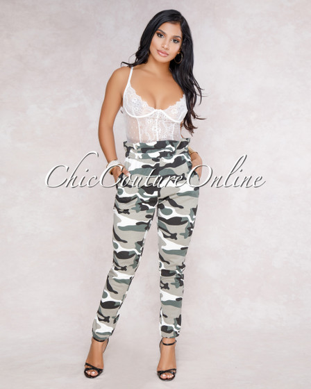 Caytlin Grey Camo Print Paper Bag Sweat Pants
