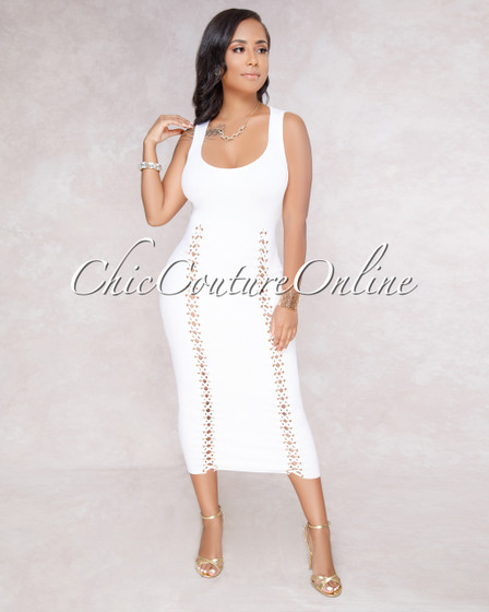 Mayrin White Lace-Up Front Ribbed Dress