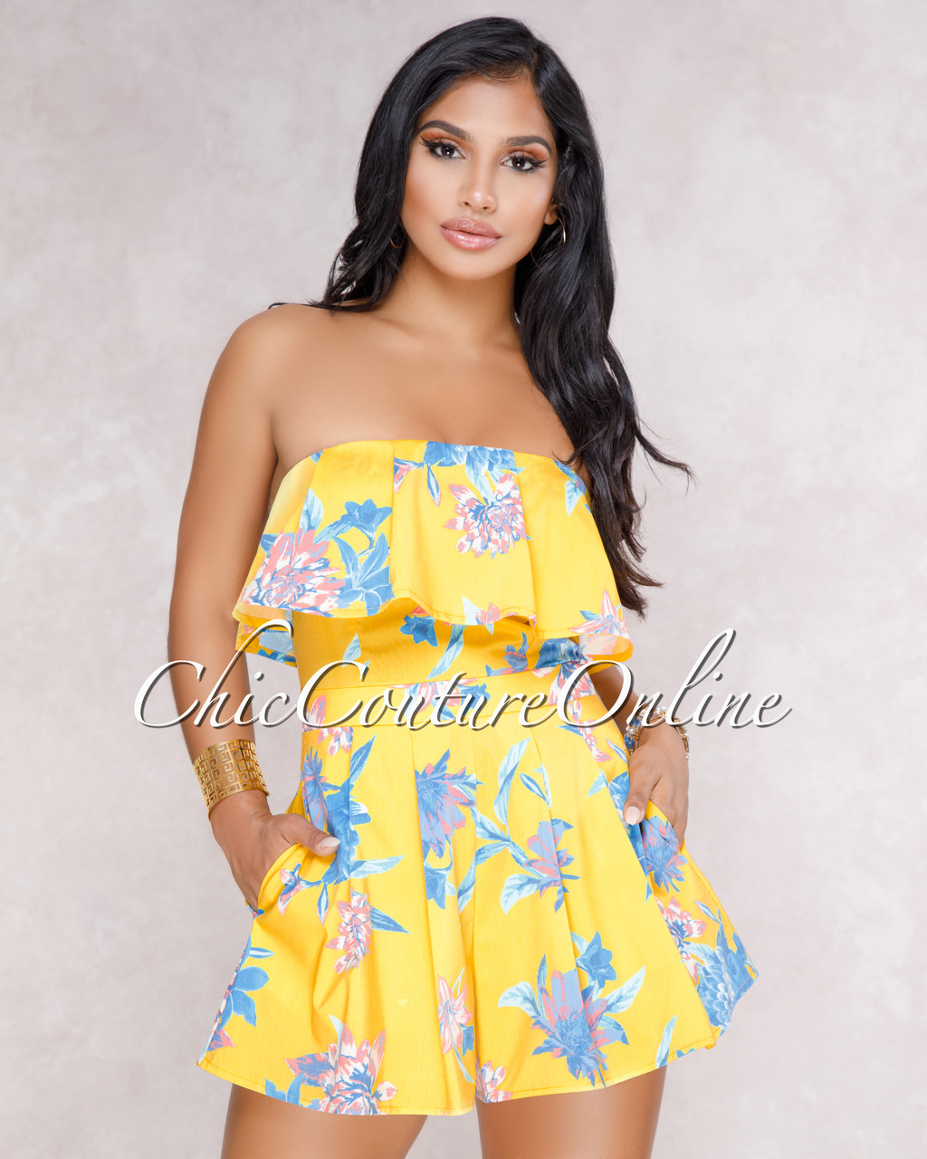 9ef09ddf4aab Sally Yellow Floral Ruffle Romper. Price   50.00. Image 1