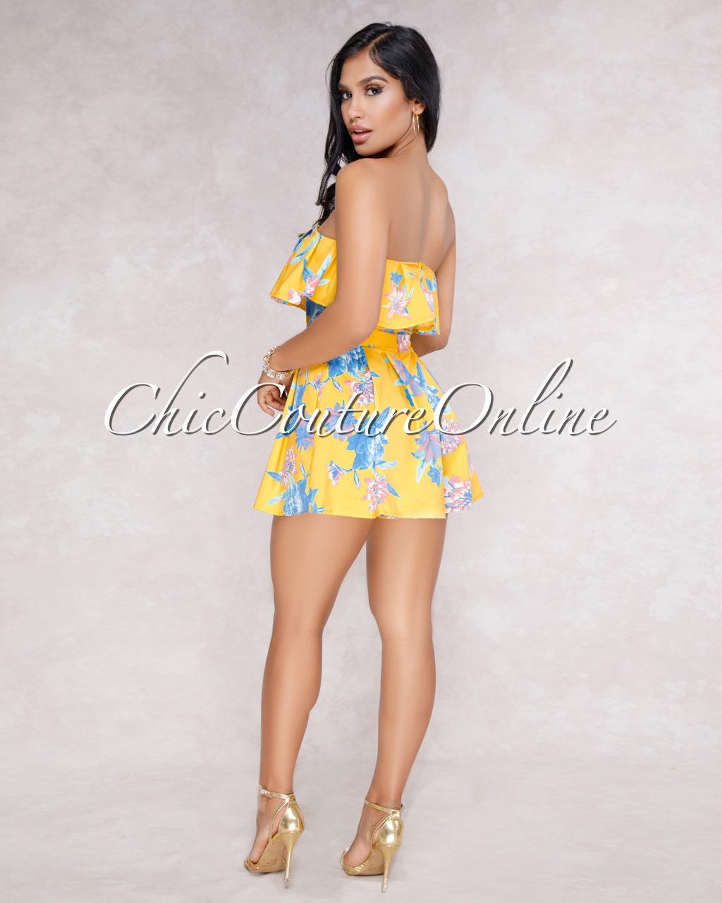 2219032a331b Sally Yellow Floral Ruffle Romper. Price   50.00. Image 1. Larger   More  Photos
