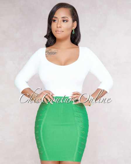 Katy Kelly Green Strappy Ring Details Mini Bandage Skirt