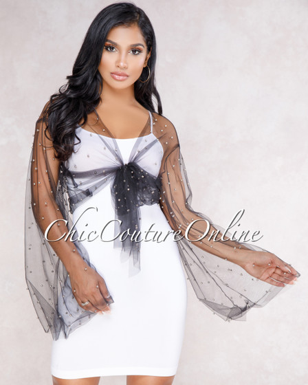 Yolanda Black Silver Pearl Mesh Bolero Jacket