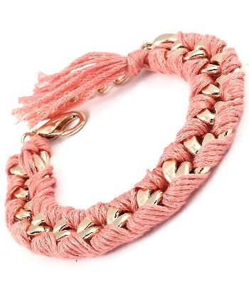Coral Woven Chain Link Bracelet