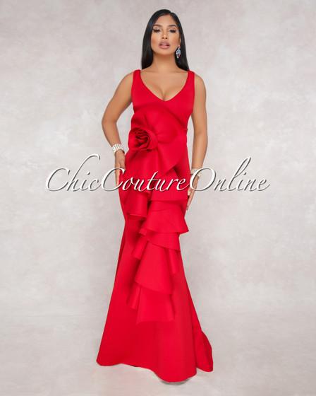 Carlton Red Flower Statement Ponti Gown