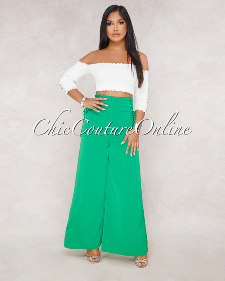 Sabria Green Lace Up Side Pants