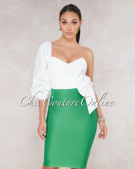 Lizeth Kelly Green Elastic Body Con Skirt