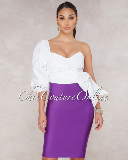 Lizeth Purple Elastic Body Con Skirt