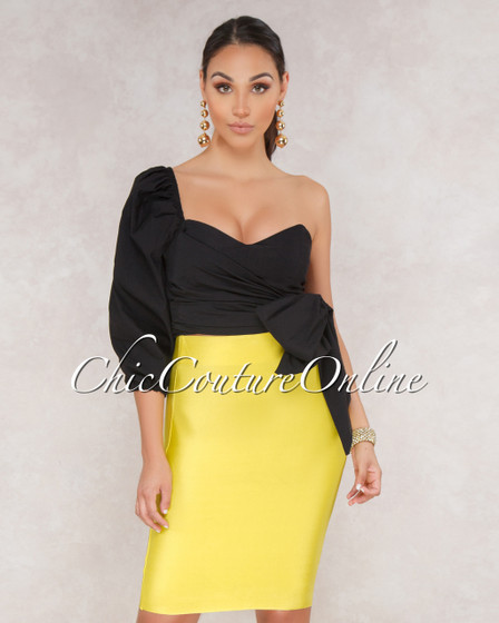 Lizeth Lemon Yellow Elastic Body Con Skirt
