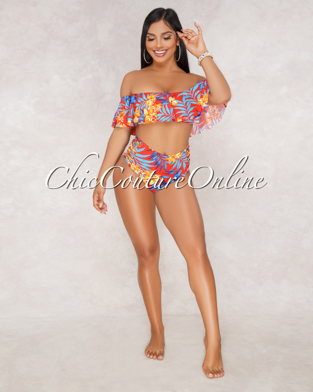 326036d239ad8 ... Ruffle Top and Strappy High Waist Two Piece Swimsuit. Price   50.00.  Image 1. Larger   More Photos