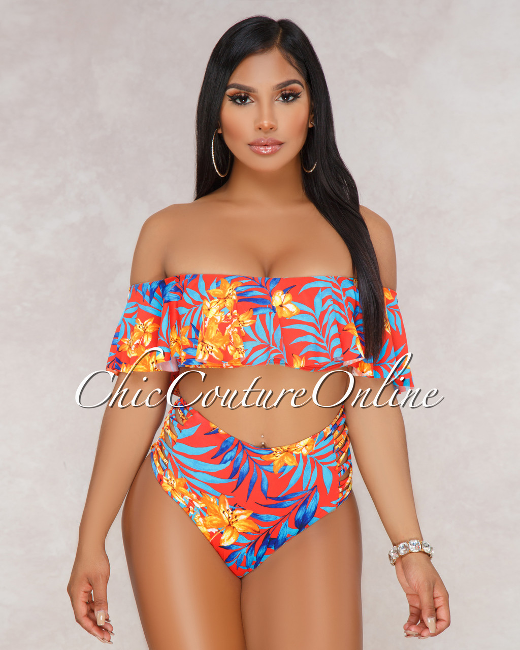 e271adc232da7 ... Ruffle Top and Strappy High Waist Two Piece Swimsuit. Price   50.00.  Image 1