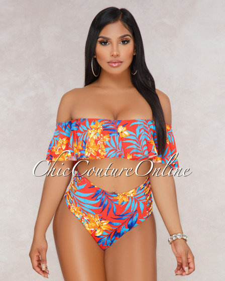 Judy Red Floral Ruffle Top and Strappy High Waist Two Piece Swimsuit