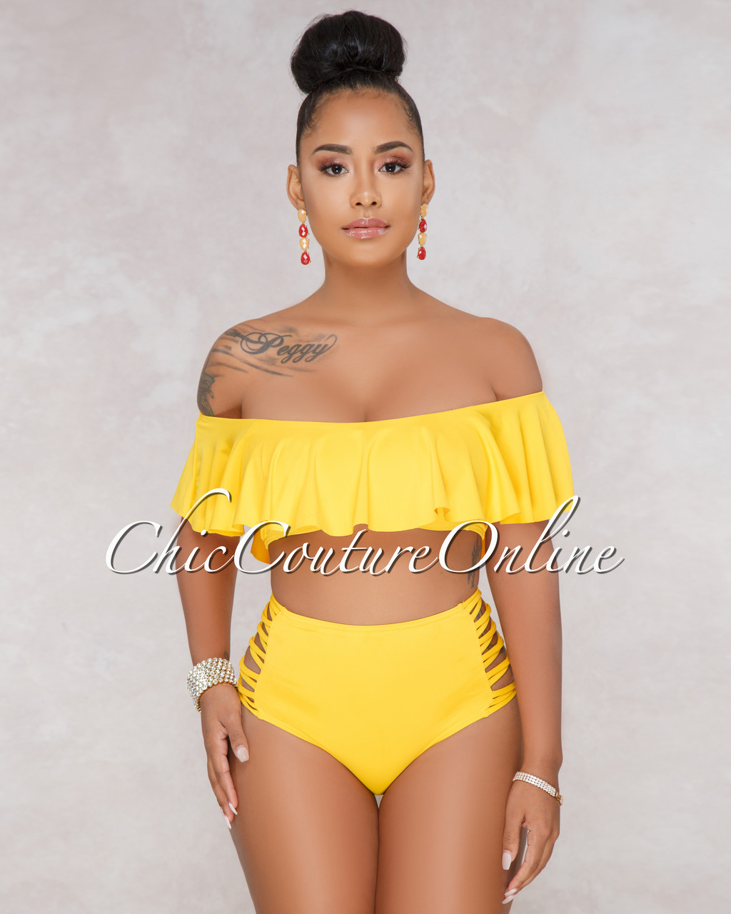 7c5df50c11 Judy Yellow Ruffle Top and Strappy High Waist Two Piece Swimsuit