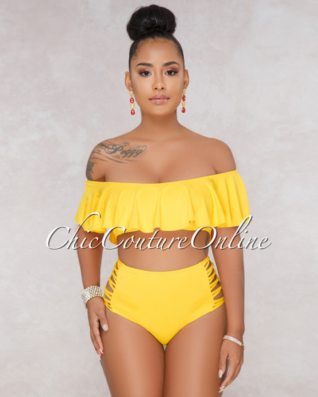 Judy Yellow Ruffle Top Strappy High Waist Two Piece Swimsuit