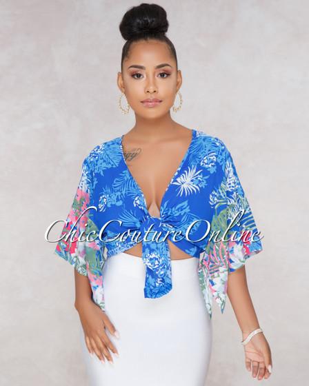 Sasha Blue Floral Print Front Tie Crop Top