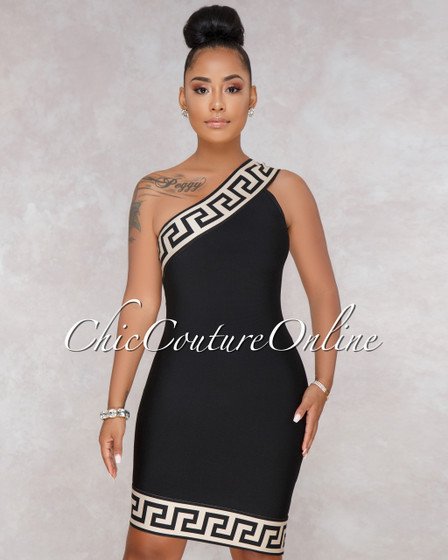 Selia Black One Shoulder Bandage Dress