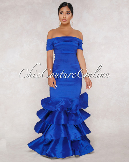 Brisa Royal-Blue Off The Shoulder Ruffle Hem Dress
